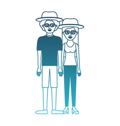 Couple in degraded blue silhouette and both with vector