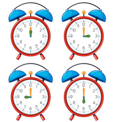 Different time on alarm clocks vector