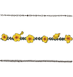 doodle floral line with yellow pansy flower vector image