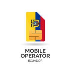 Ecuador mobile operator sim card with flag vector