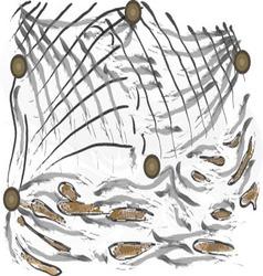 Fishing nets sea waves vector