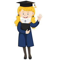 Happy girl in graduation gown vector