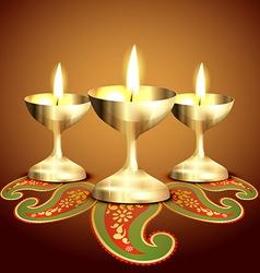 Indian worship lamp vector