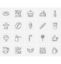 Junk food sketch icon set vector image