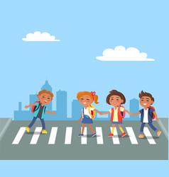 kids crossing road in city cartoon vector image
