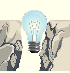 Light bulb filling rocky abyss isolated vector