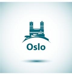 Linear oslo city silhouette vector