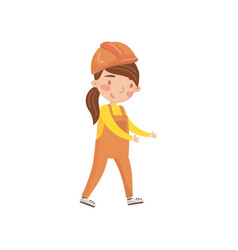 little girl construction worker in protective vector image