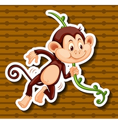 Little monkey hanging on the vine vector