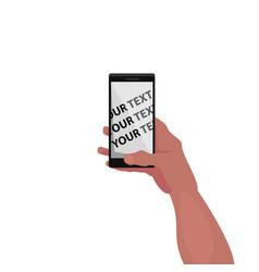 Mockup of screen of smartphone in hand vector