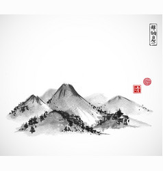 mountains hand drawn with ink on white background vector image vector image