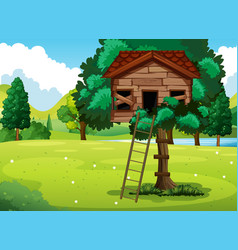 Old treehouse in the park vector