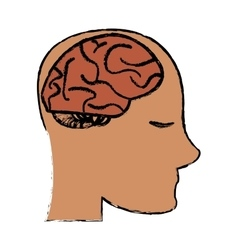 Profile head brain idea imagination sketch vector