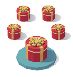 round gift box with lid vector image vector image
