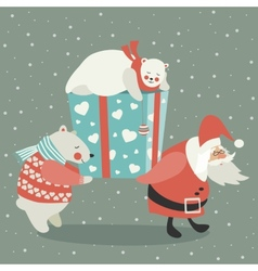 Santa and polar bear carrying a gift vector