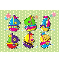 Ship sticker cartoon vector