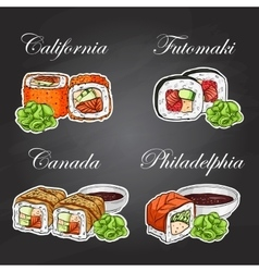 sushi color sticker set vector image vector image