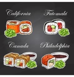 sushi color sticker set vector image vector image