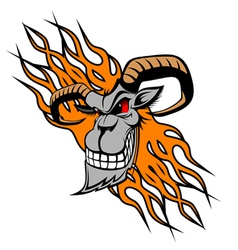 Wild goat with flames vector