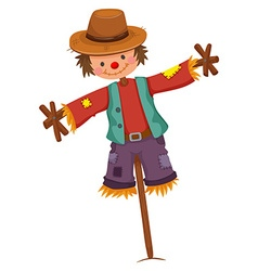 Scarecrow on wooden stick vector image
