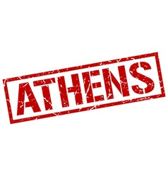 Athens red square stamp vector