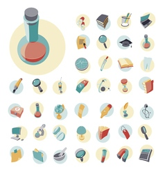 Icons vintage set flat circle education vector