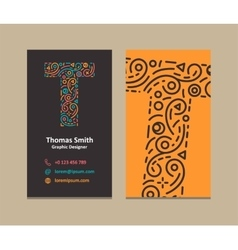 Letter t logo business card vector