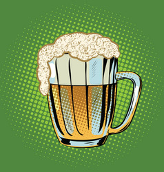 Full beer mug with foam vector