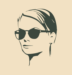 Portrait of beautiful woman in black sunglasses vector