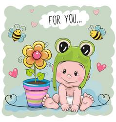 Cute cartoon baby in a froggy hat vector