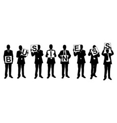 Silhouettes of businessmen holding panels vector