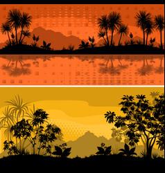 Set landscapes palms and plants vector
