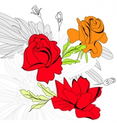 Colorful background with red roses vector
