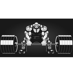 Bodybuilder with a barbell vector image