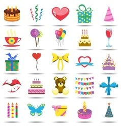 Happy Birthday Icons vector image