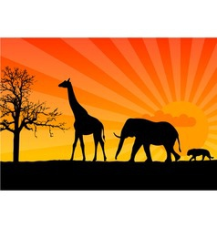 Black silhouette of african wild animals vector
