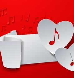 Hearts cut from white paper on red music vector