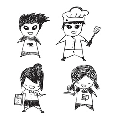 Staff coffee characters drawing by hand vector