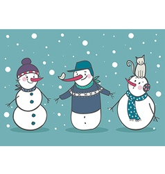 Set of 3 snowman vector image