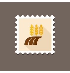 Ears of wheat barley rye on field stamp vector