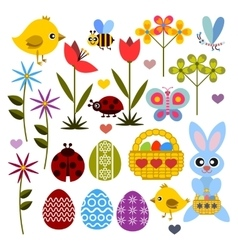 Set of flat colored icon for easter vector