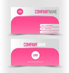 Business card set template pink and silver grey vector