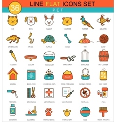Pets animal flat line icon set modern vector