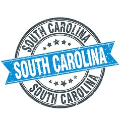 South carolina blue round grunge vintage ribbon vector