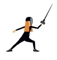 Female athlete practicing fencing isolated icon vector