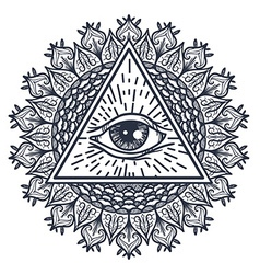 All seeing eye in triangle and mandal vector