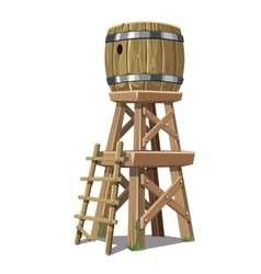 Old wooden water tower on white background vector