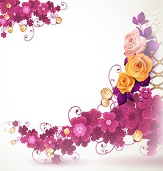 Abstract background with clover and rose vector image