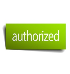 Authorized green paper sign on white background vector