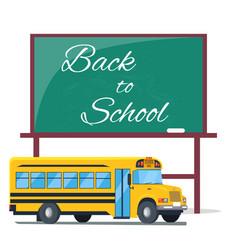Back to school written on green blackboard bus vector